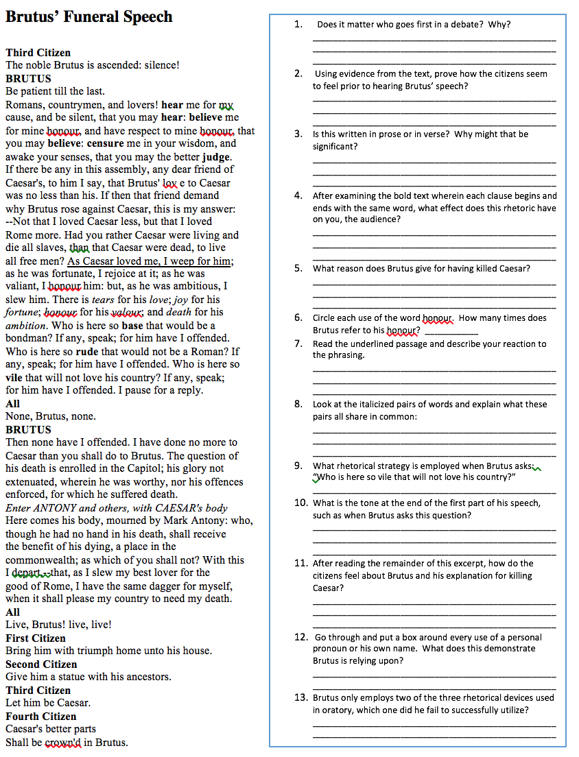 150208 Convincing the Masses Rhetoric in Julius Caesar – Ethos Pathos Logos Worksheet