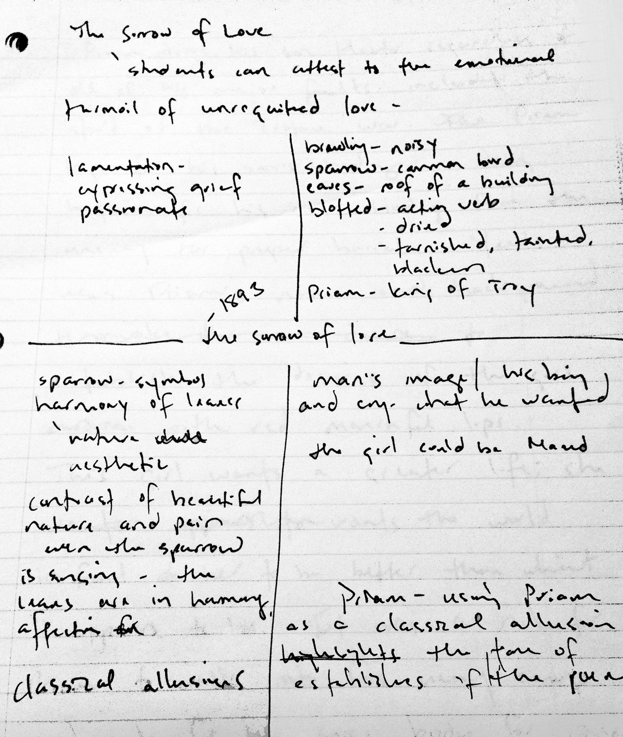 "william butler yeats meets an eighth grader from west  see figure 1 1 of my personal annotations of ""sorrow of love"" by william butler yeats"