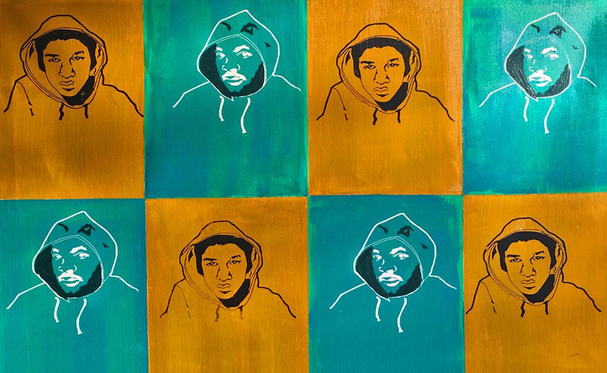 Trayvon-Martin I, Silkscreen and acrylic, 40 x 30 inch
