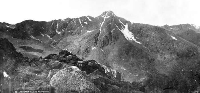 William Henry Jackson's photo of Mount of the Holy Cross from the top of Notch Mountain, 1873