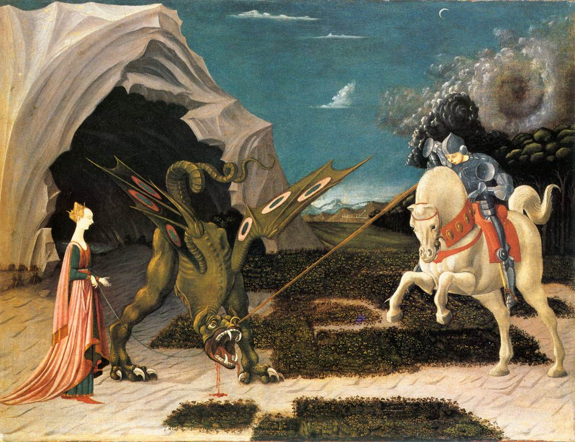 Uccello, Paolo (1456) St. George and the Dragon Oil on canvas, 57 x 73 cm, National Gallery, London
