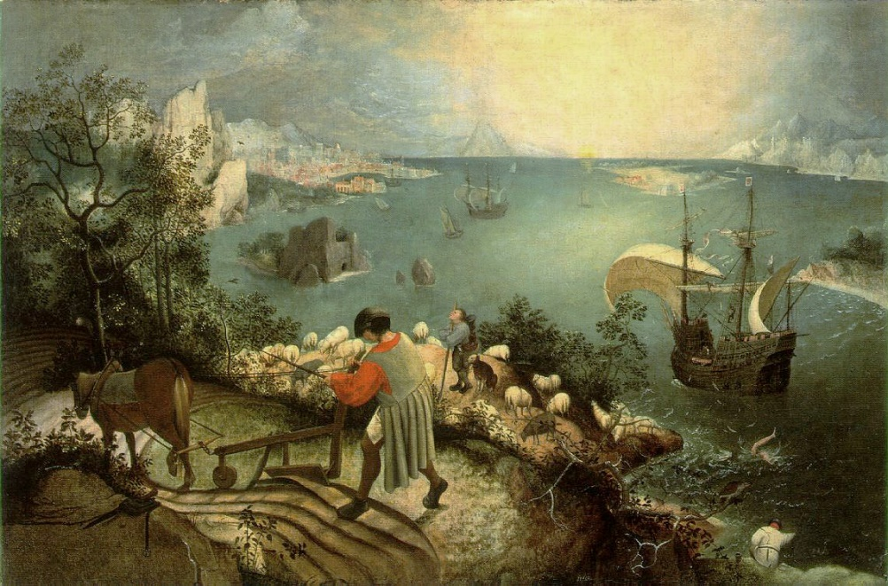 Bruegel, Pieter (1558) Landscape with the Fall of Icarus Oil on canvas, 73.5 x 112 cm, Royal Museums of Fine Arts of Belgium.