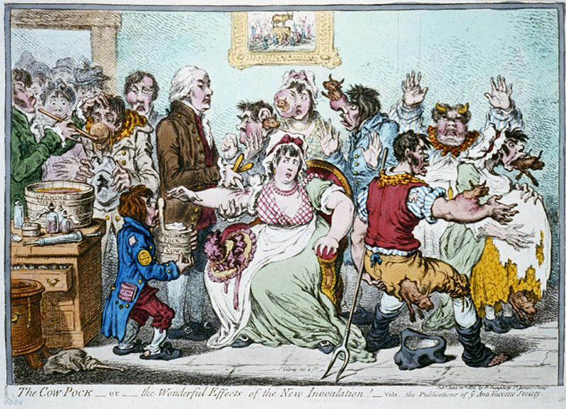 """Figure 4: 1804 cartoon caricature of Smallpox and Inoculation Hospital in Pancras London. Caption reads """"Cow-Pock—or—The Wonderful Effects of the New Inoculation!"""""""